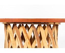 Table basse rectangulaire bois et cuir tendu design mexicain 1950