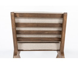 Low chair in pine and Maison Thevenon natural linen cushion 1950