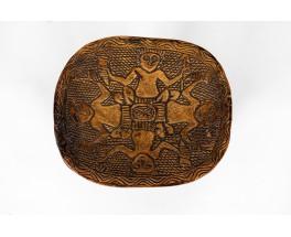 Tabourets monoxyles bois noir sculpté design africain 1950 set de 5