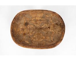 Monoxyl stools in black carved wood African design 1950 set of 5