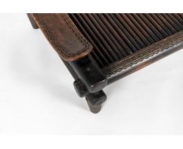 Table basse Senoufo bois noir design africain 1950