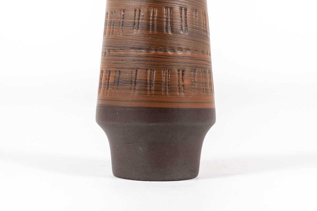 Vase in brown ceramic 1960