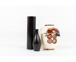 Ceramic Vases In Black And Brown Tones 1960 Set Of 3