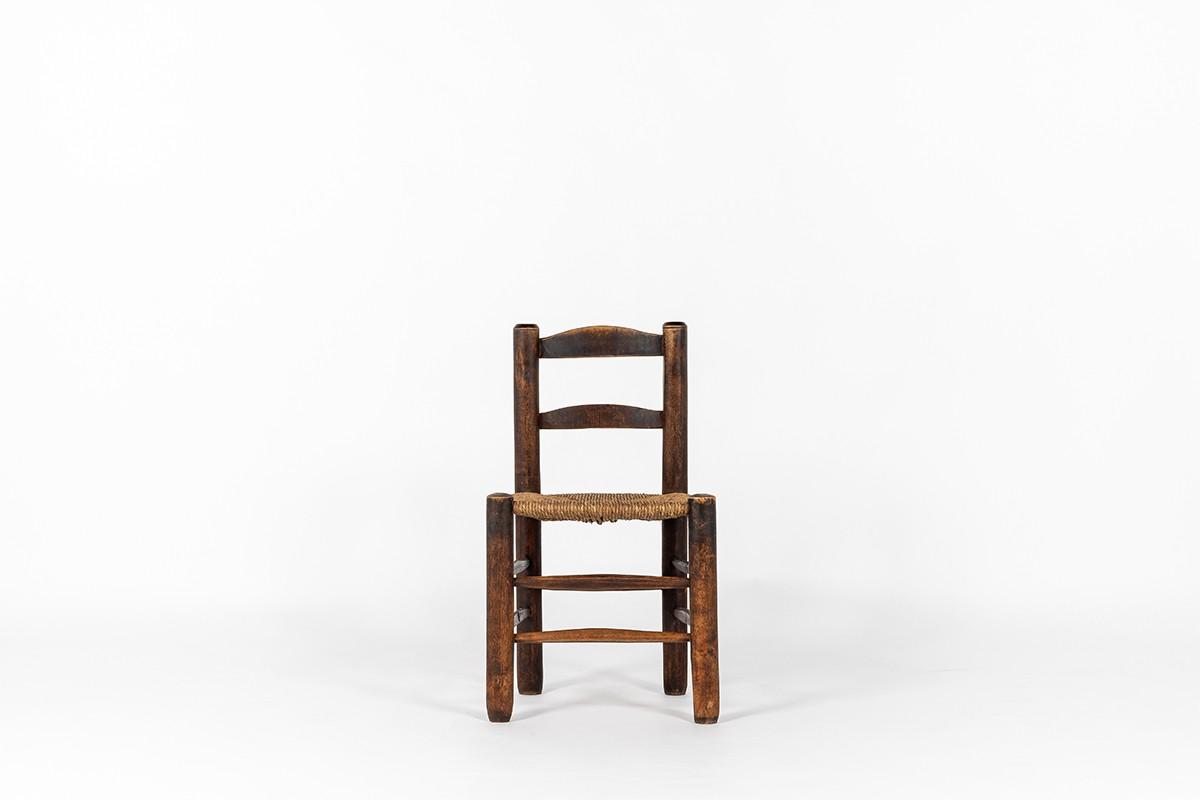 Chaise chêne et assise paille 1950