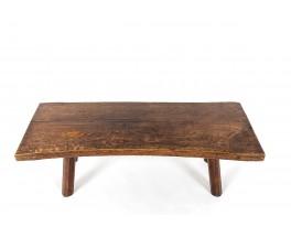 Table basse en chêne design brutaliste 1950