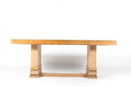 Table de repas chêne cérusé et plateau pierre de Bourgogne 1930