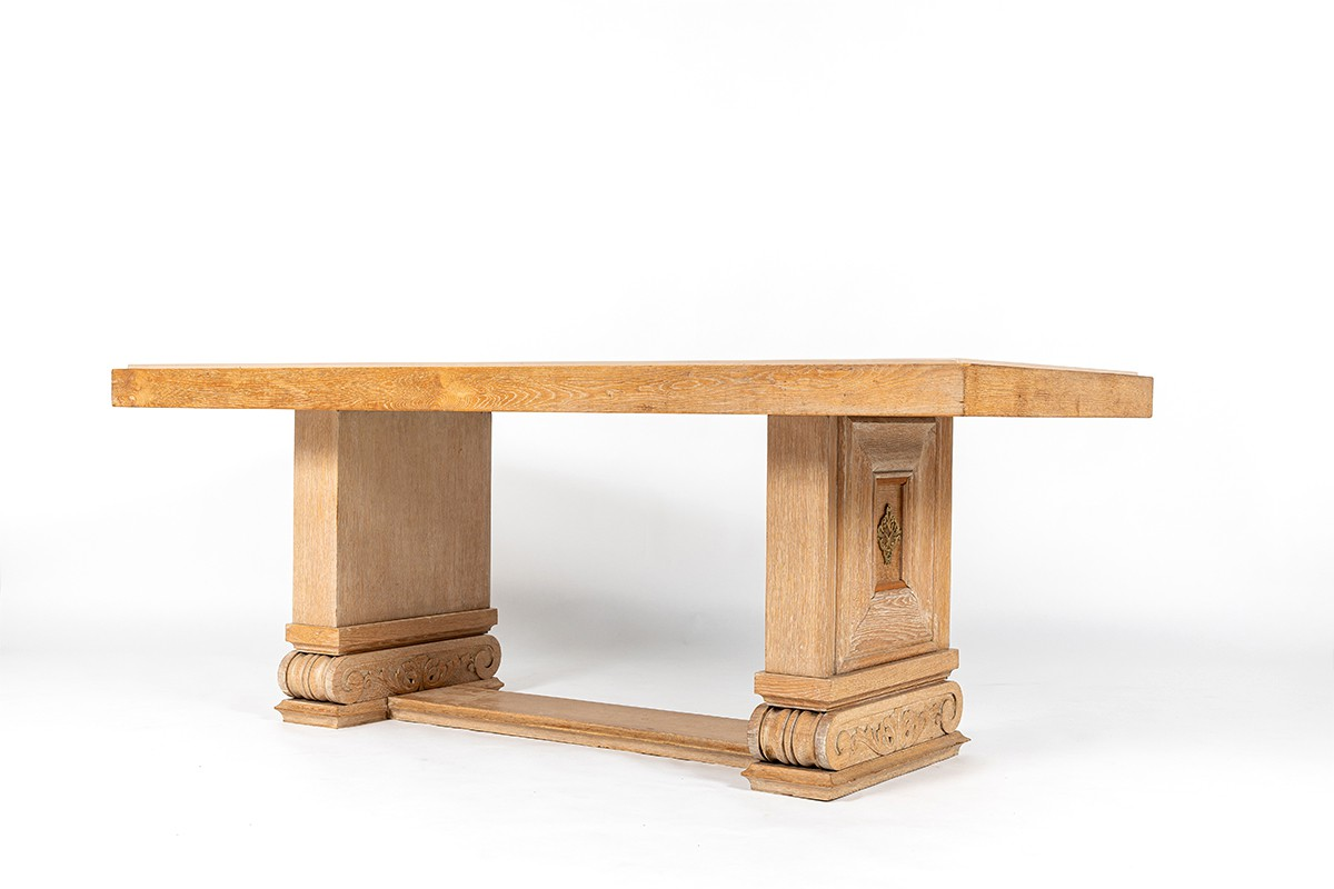 Dining table in ceruse oak and Burgundy stone top 1930