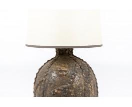 Lampe en céramique et abat-jour papier beige 1950