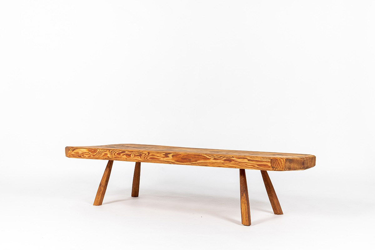Coffee table in pine free-form 1950