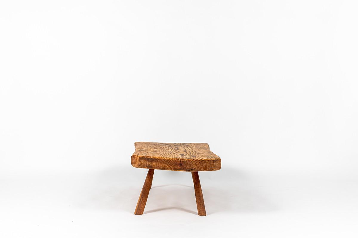 Table basse en sapin forme libre 1950