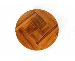 Round coffee table in elm edition Maison Regain 1980