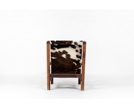 Armchair in mahogany and cowhide seat 1950