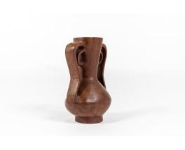 Vase monoxyle en acajou massif design africain 1950
