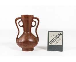 Monoxyl vase in solid mahogany African design 1950