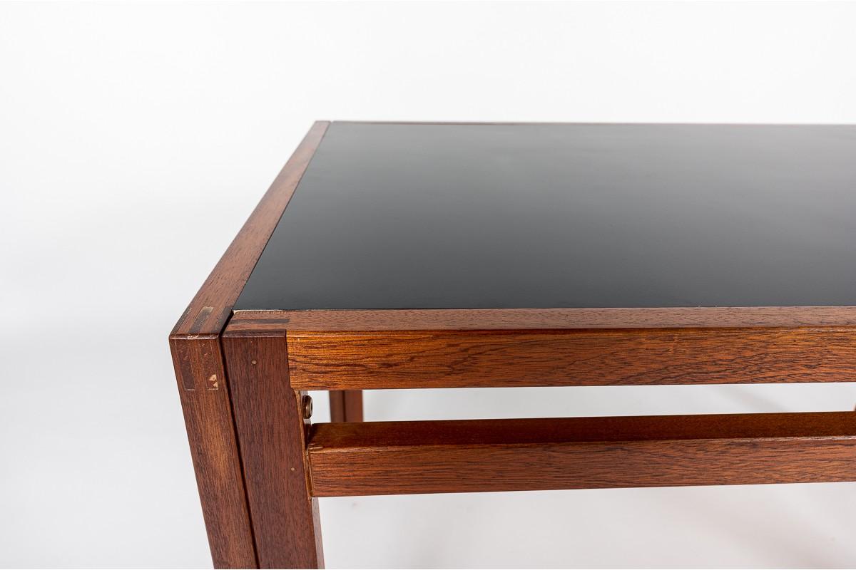 Table de repas André Sornay en acajou et plateau stratifié noir 1950