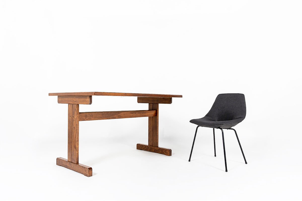 Andre Sornay university table with black laminated 1950