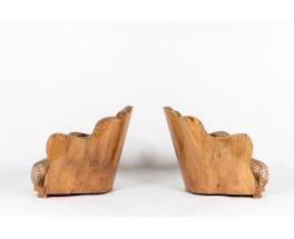 Fauteuils en loupe de noyer et tissu Pierre Frey 1930