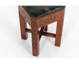 Tabouret en bois sculpté et skaï vert design marocain 1950