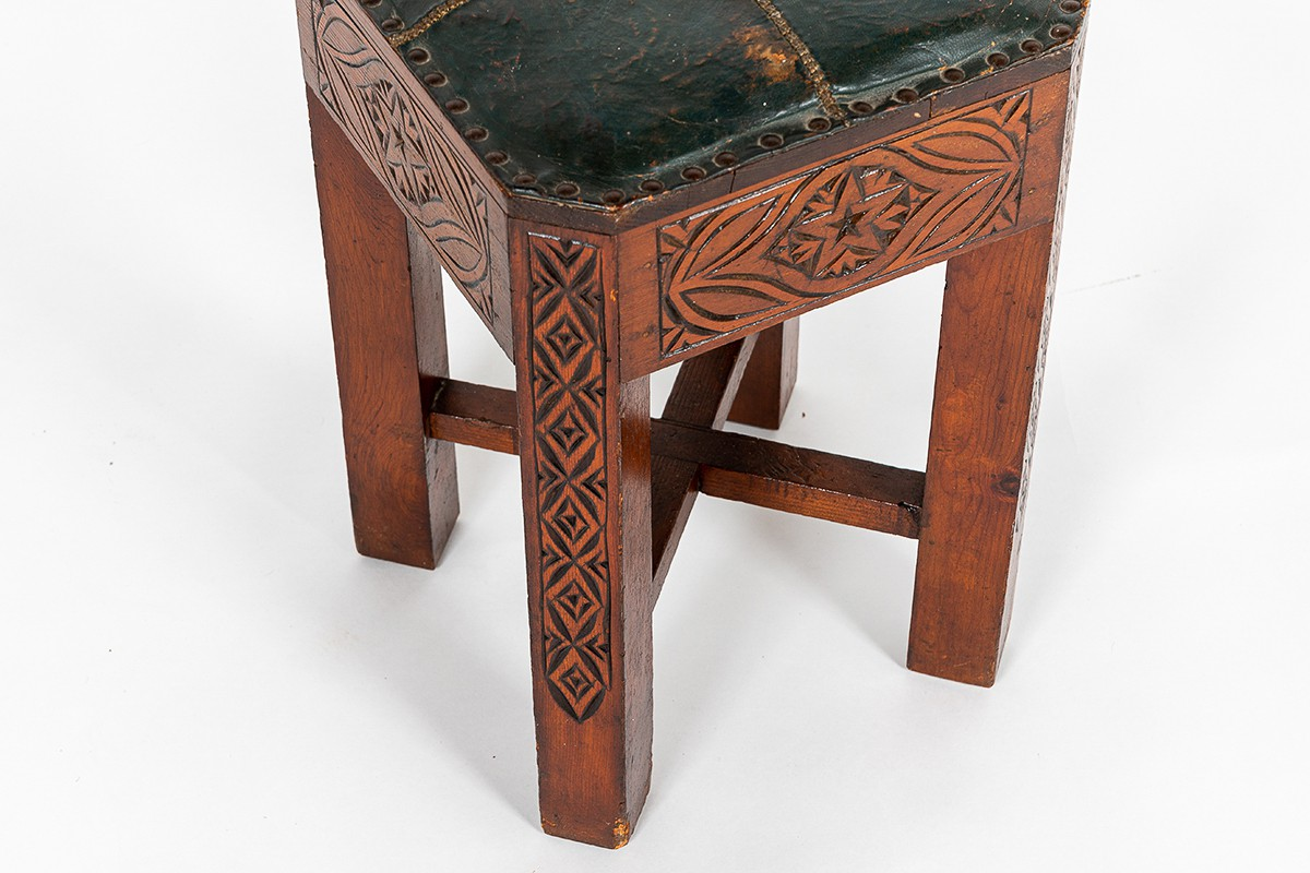 Stool in carved wood and green leatherette Moroccan design 1950