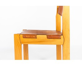 Chairs in elm and leather edition Maison Regain 1980 set of 4