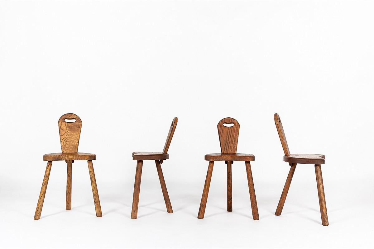 Chairs in oak brutalist design 1950 set of 4