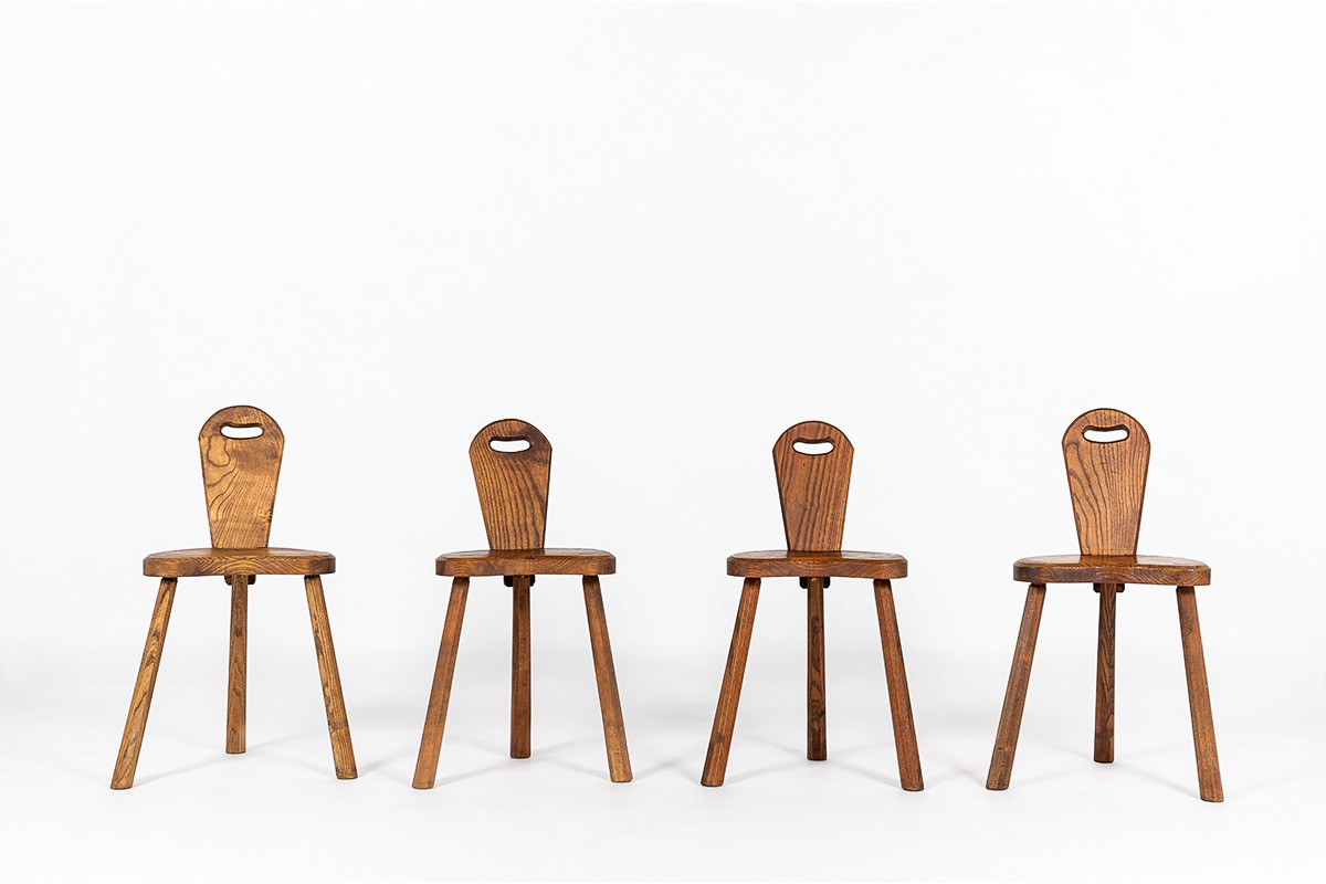 Chaises en chêne design brutaliste 1950 set de 4