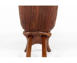 Fauteuils palabre en bois design africain 1950 set de 2