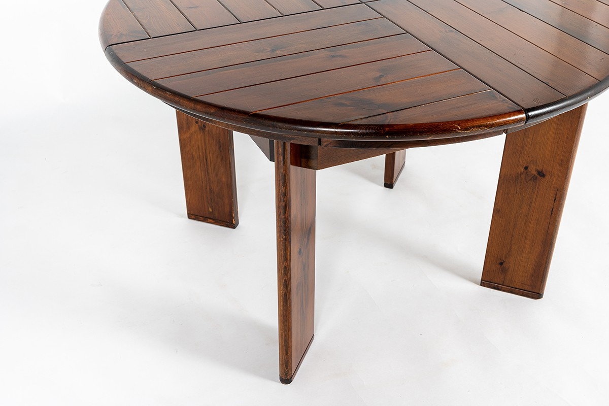 Round dining table with extension by Silvio Coppola edition Fratelli Montina 1970