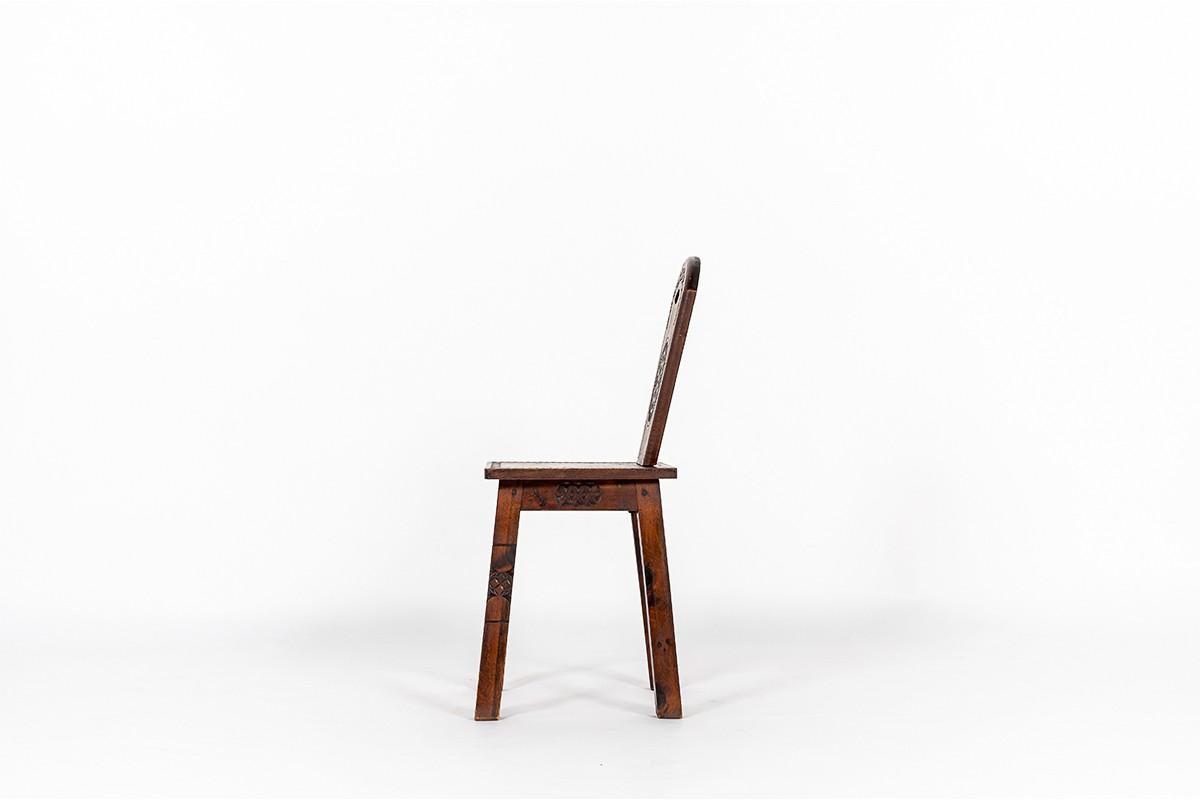 Chaise en sapin design breton 1950