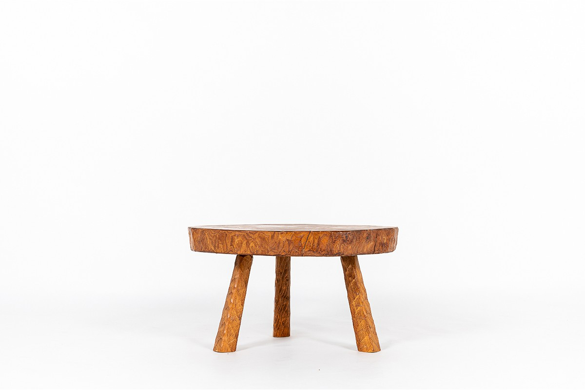 Coffee table in elm free form 1980