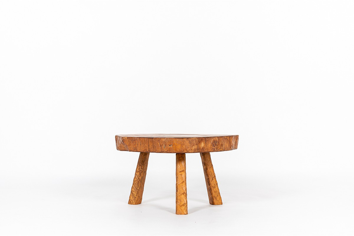 Table basse en orme forme libre 1980