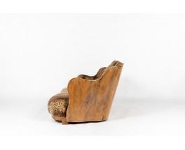 Canapé en loupe de noyer et tissu Pierre Frey 1930