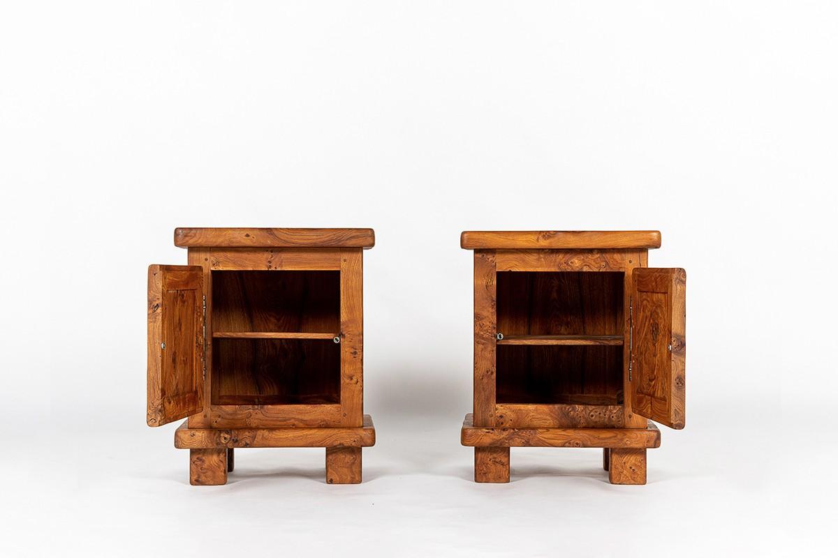 Bedside tables in elm burl 1980 set of 2