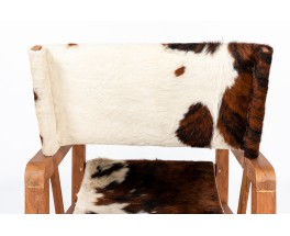 Armchairs in mahogany with cow skin fabric 1950 set of 2