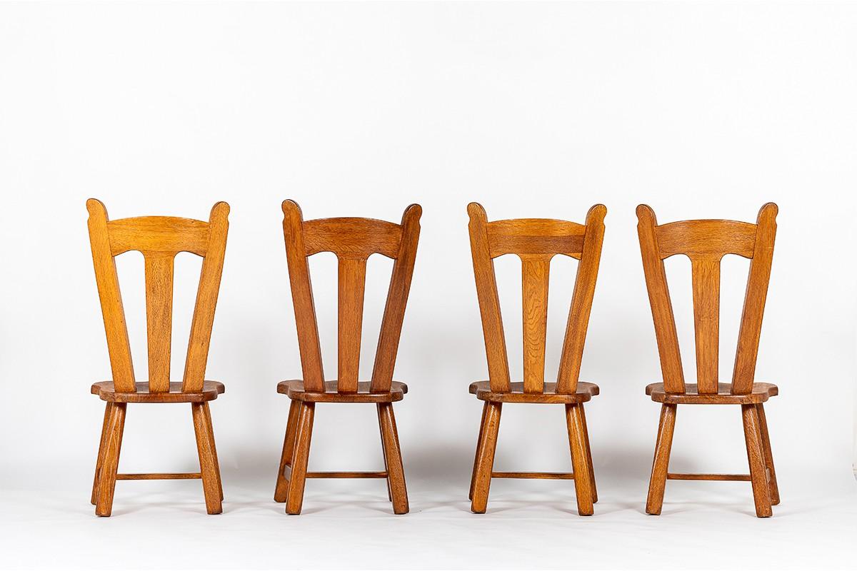 Chaises en chêne grand modèle 1950 set de 4