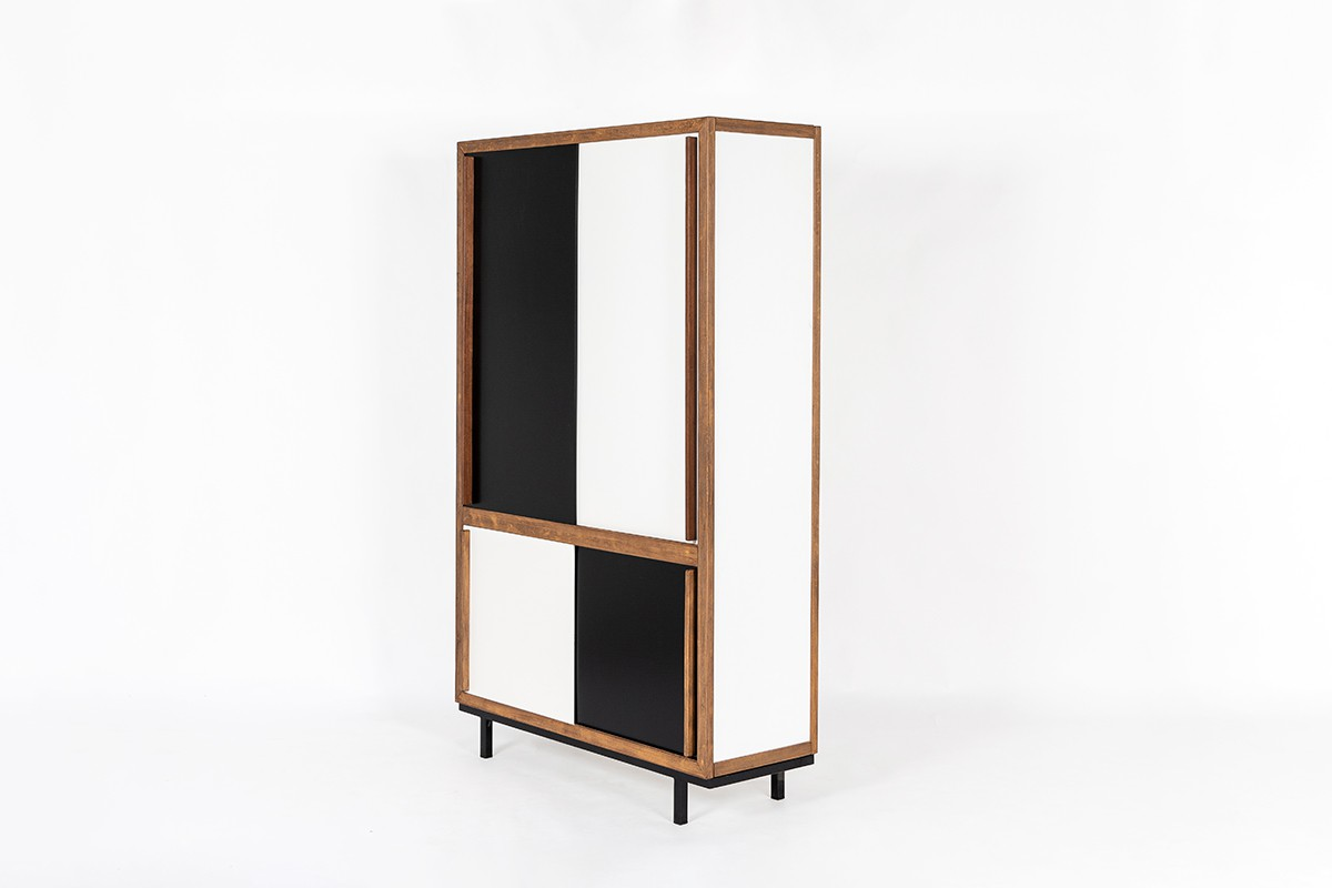 Andre Sornay wardrobe in beech and black and white lacquer 1960