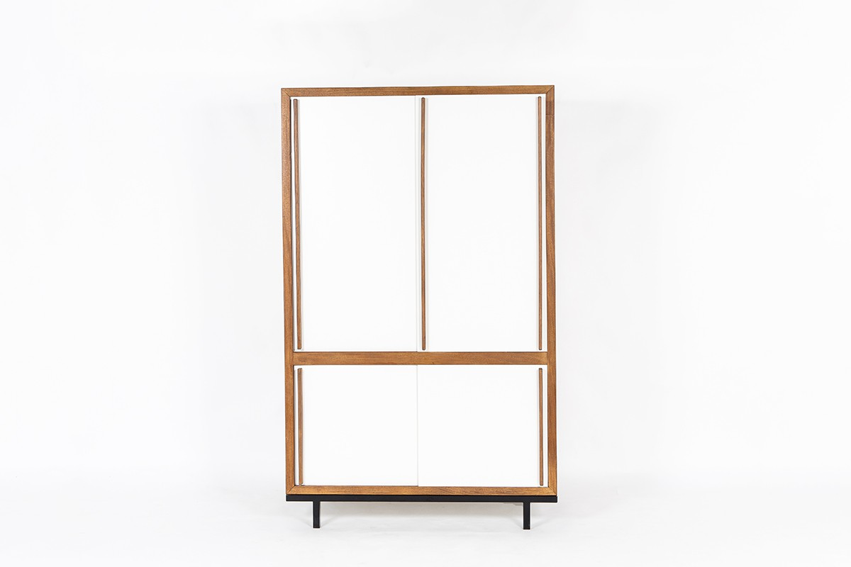 Andre Sornay wardrobe in mahogany and white lacquer 1960