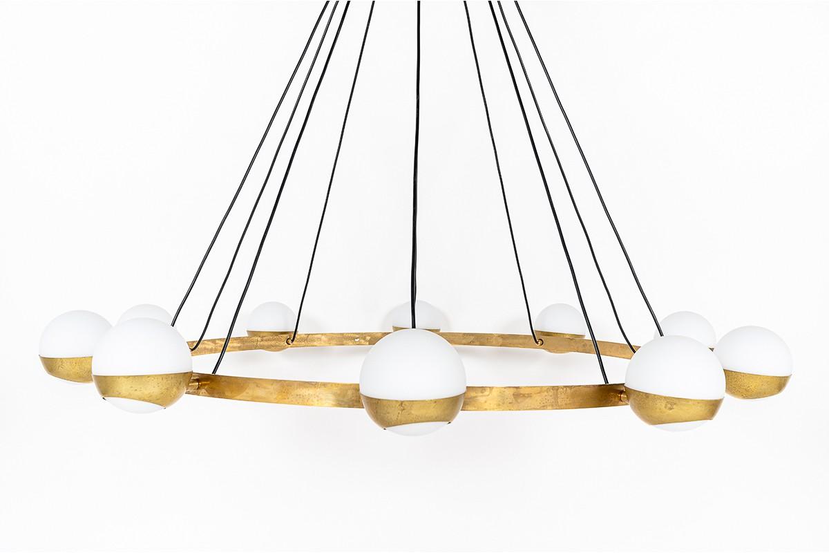 Chandelier 6 lights in brass and opaline Italian contemporary design