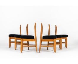 Guillerme and Chambron chairs black linen fabric edition Votre Maison 1950 Set of 6