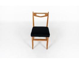 Chaises Guillerme Et Chambron Tissu Lin Noir Édition Votre Maison 1950 Set De 6