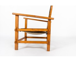 Armchair in beech and kilim fabric 1950