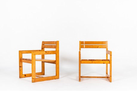 Andre Sornay armchairs in natural pine 1960 set of 2