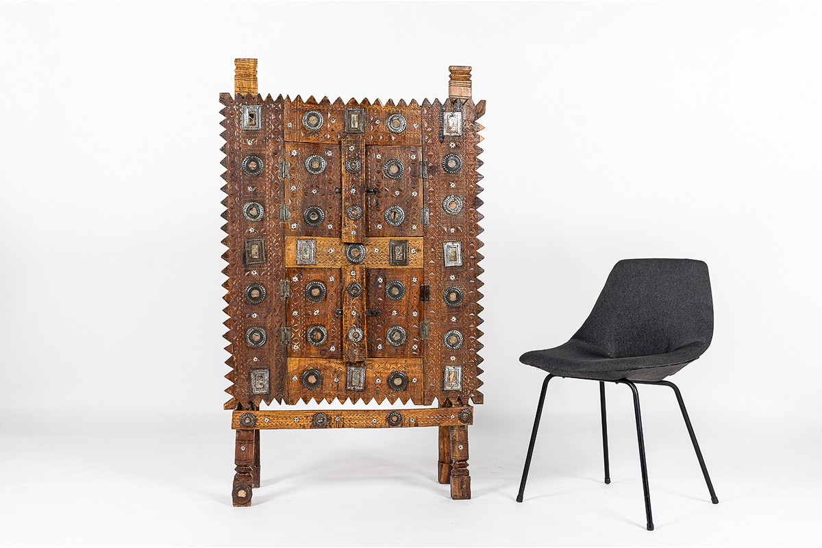 Cabinet in wood aluminum and mirror Indian design 1900