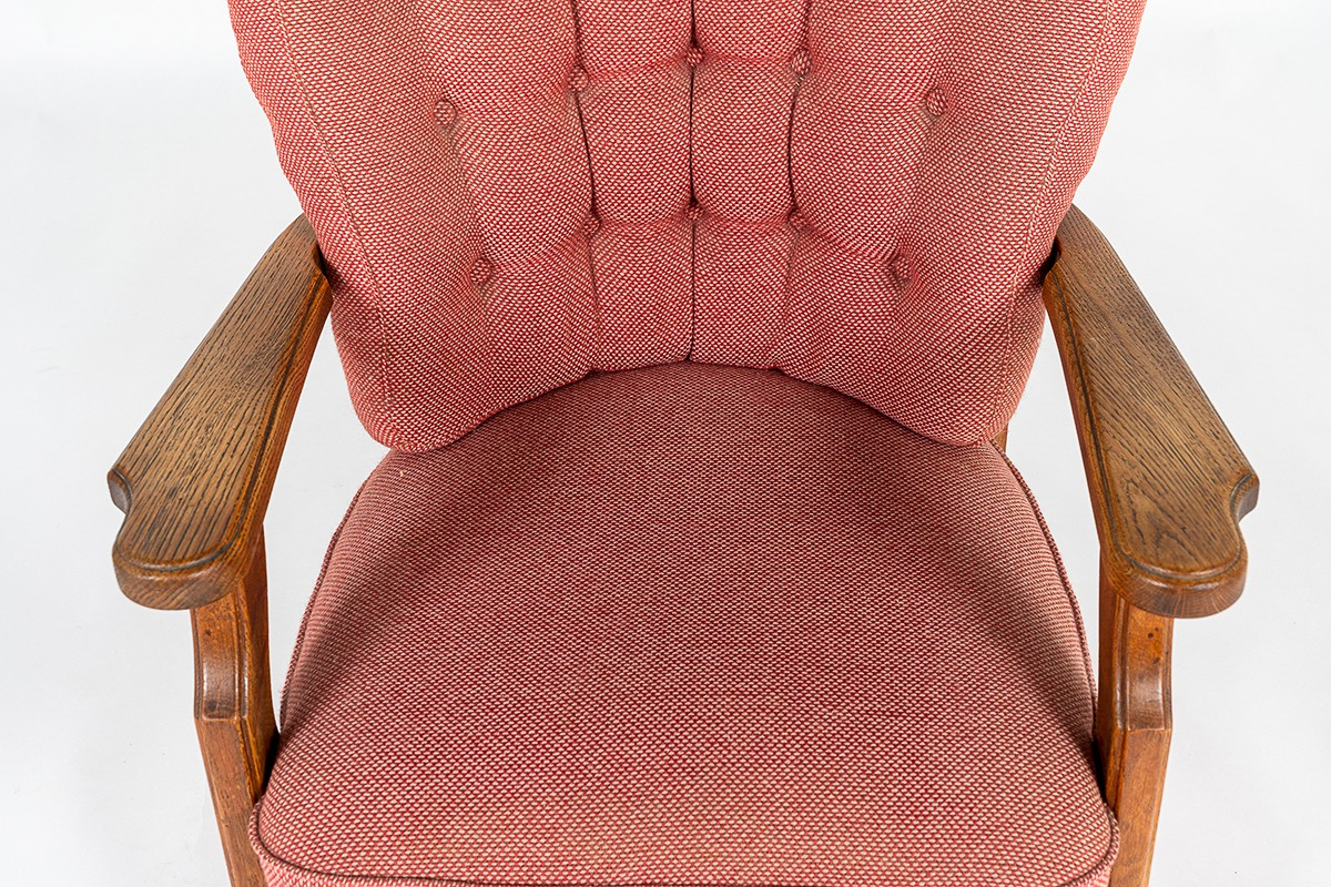 Guillerme and Chambron armchair in oak and fabric edition Votre Maison 1950