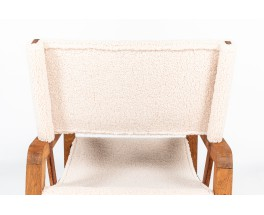 Armchair in mahogany and beige sheep fabric 1950