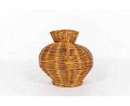 Vase in braided rattan 1950