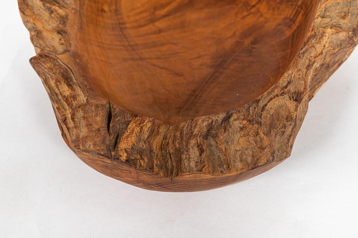 Trinket bowl in olive tree brutalist design 1950