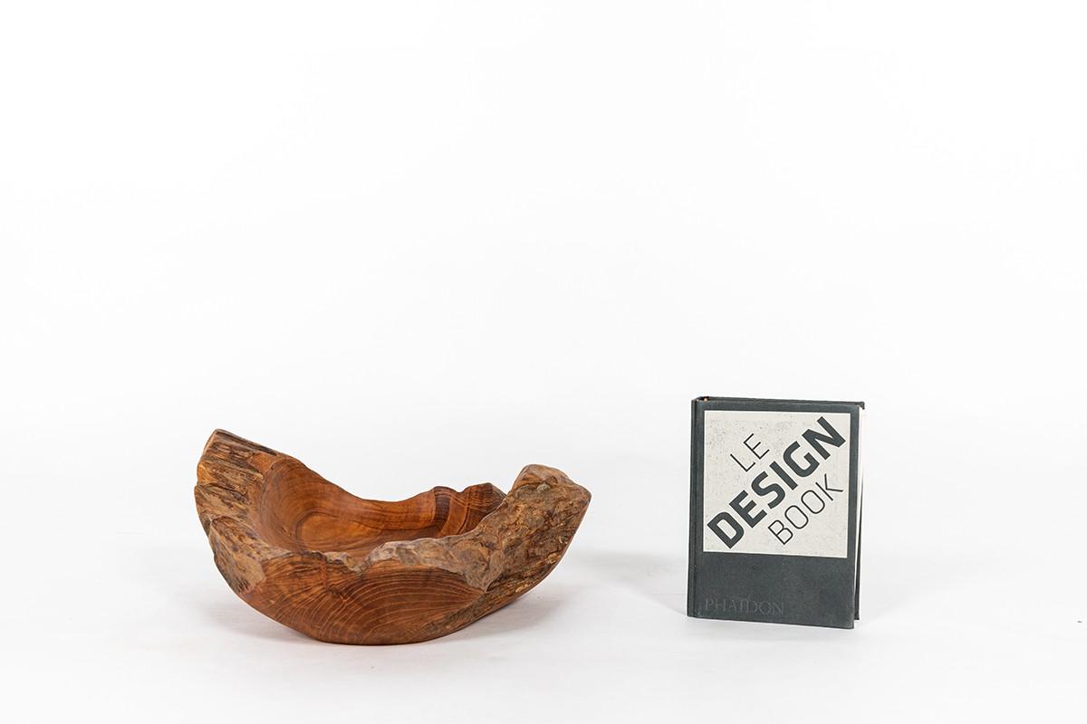 Vide poche en olivier design brutaliste 1950