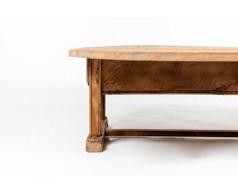 Large coffee table in oak Spanish brutalist design 1900