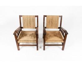 Francis Jourdain armchairs in oak and rope 1930 set de 2